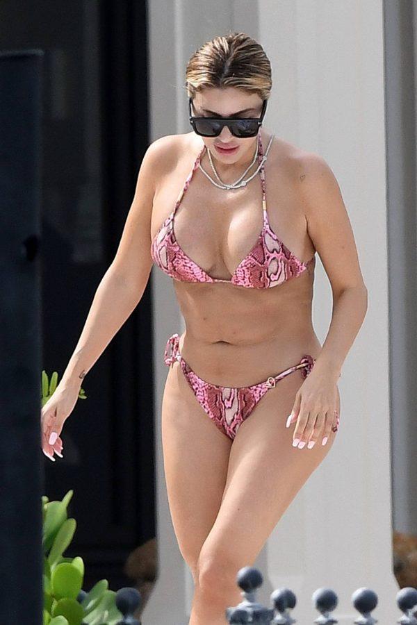 Larsa Pippen In a pink snakeskin bikini in Ft. Lauderdale 17