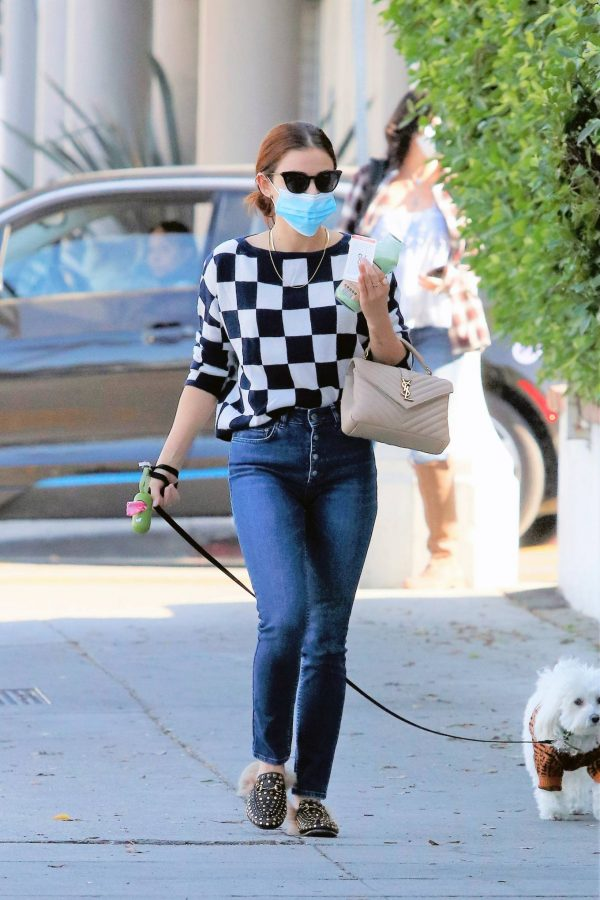 Lucy Hale Seen walking her dog Elvis in Los Angeles 13