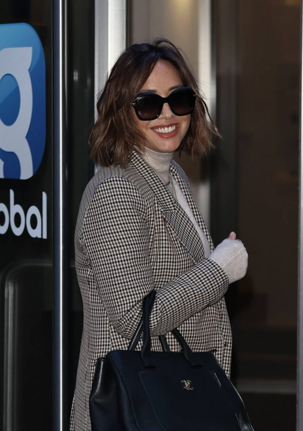 Myleene Klass In a tweed jacket and trousers at Smooth radio in London 03