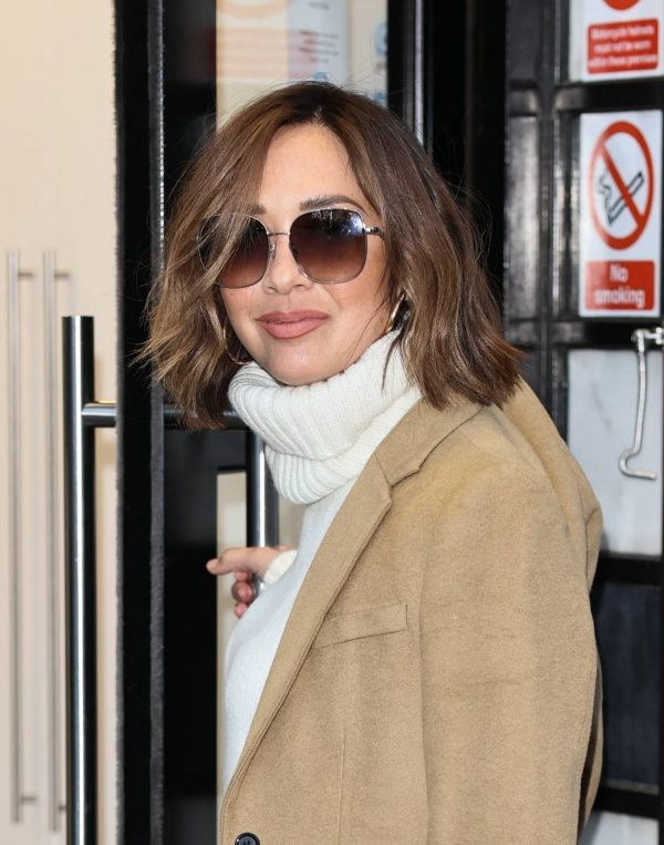 Myleene Klass In flares joins stars at Global radio in London 02