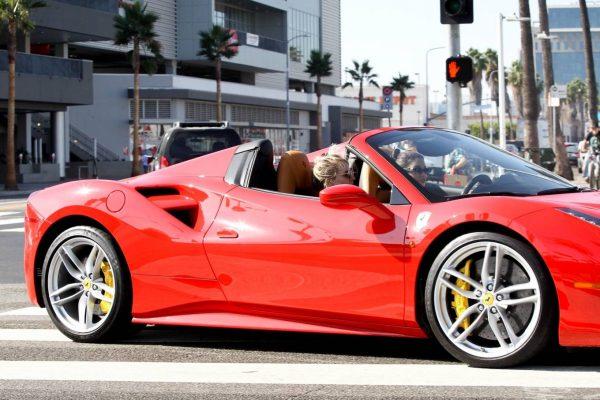 Vanessa Hudgens Leaving Dogpound gym in her red Ferrari 10