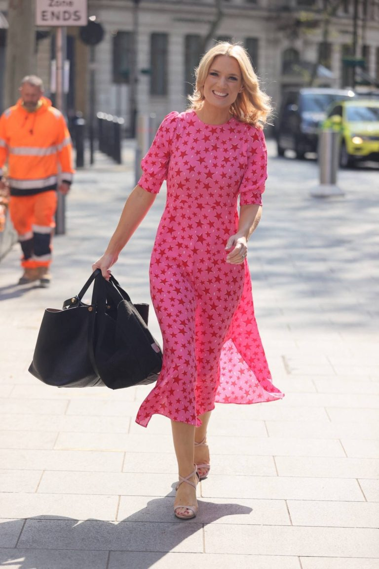 Charlotte Hawkins Out in pink dress at Global Radio in London 01