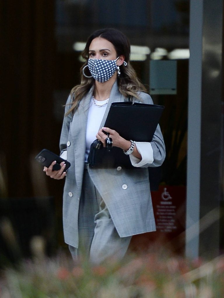Jessica Alba Dons bussines look while out of an office building in Los Angeles 02