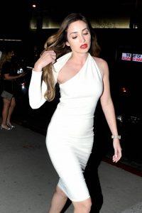 Megan Pormer In white tight dress going to Nusr Et Steakhouse in Beverly Hills 06