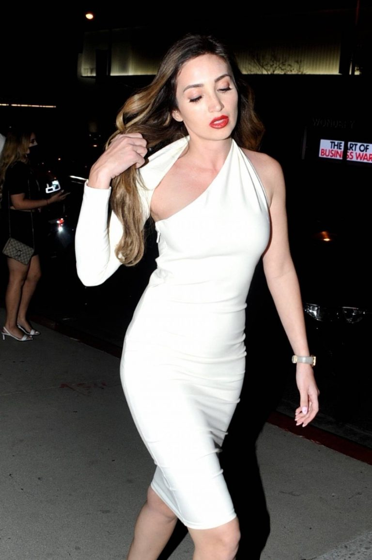 Megan Pormer In white tight dress going to Nusr Et Steakhouse in Beverly Hills 06