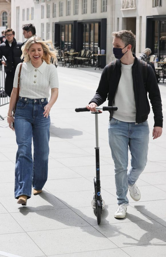 Mollie Kings Out in denim jeans at BBC studios with Matt Edmonton in London 04