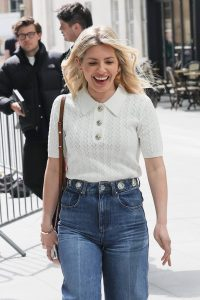 Mollie Kings Out in denim jeans at BBC studios with Matt Edmonton in London 05