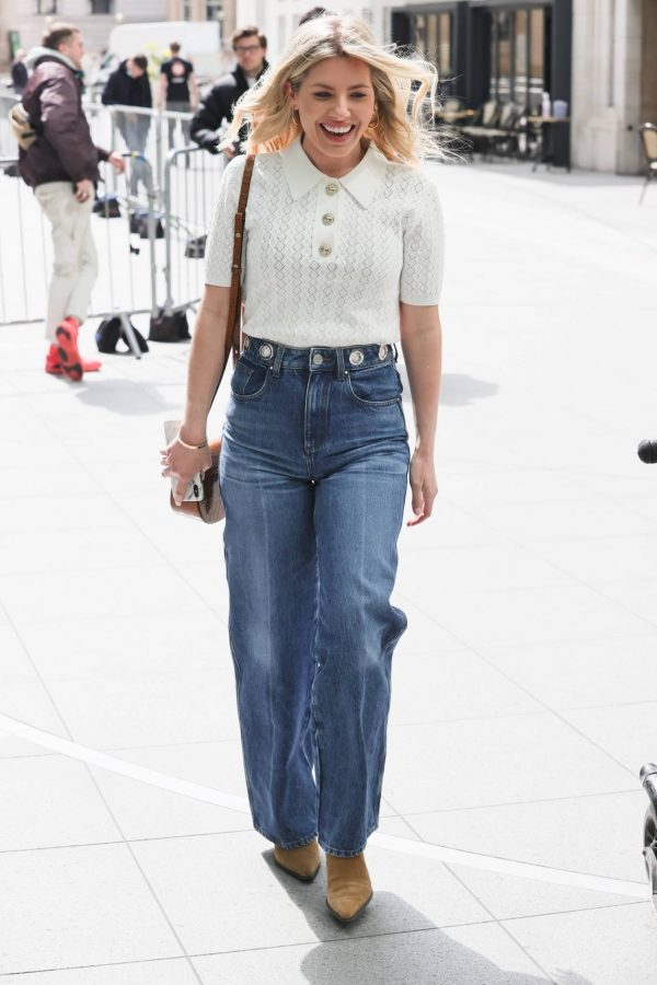 Mollie Kings Out in denim jeans at BBC studios with Matt Edmonton in London 06