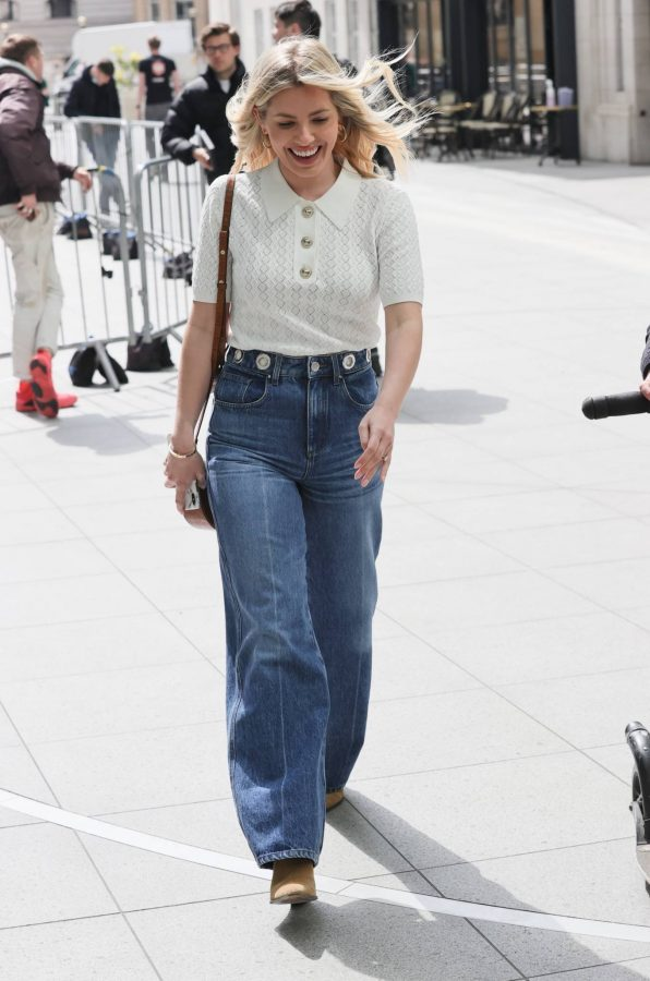 Mollie Kings Out in denim jeans at BBC studios with Matt Edmonton in London 09