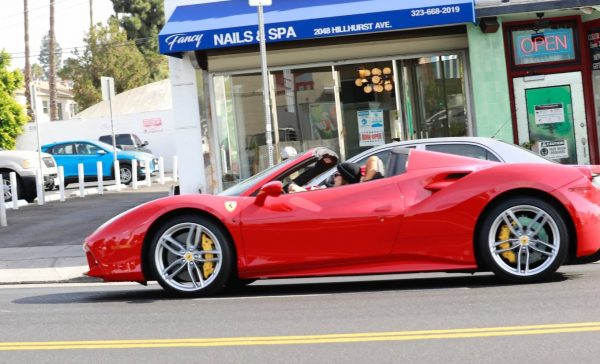 Vanessa Hudgens and GG Magree driving around in West Hollywood 08